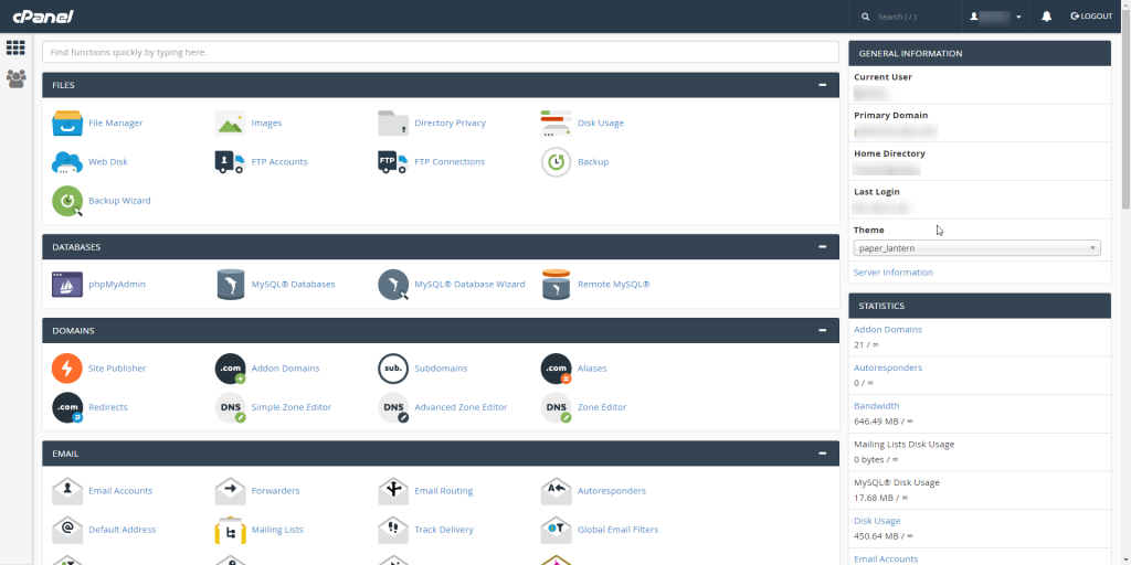 cPanel Website Access